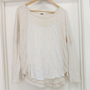 Free People Eyelet Lace Front Long Sleeve Top CD